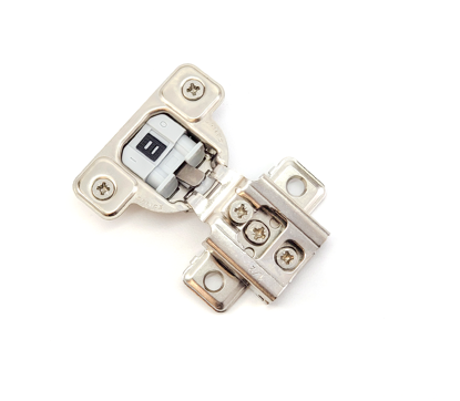 """Picture of Salice 1/2"""" Overlay Dowel Mounting Hinge (3 Cam) in Nickel for 106° Opening Angle"""