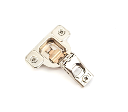 """Picture of Salice 5/8"""" Overlay Dowel Mounting Hinge (2 Cam) in Nickel for 106° Opening Angle"""