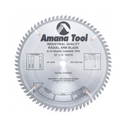 Picture of 610720 Carbide Tipped Radial Arm 10 Inch Dia x 72T ATB, 0 Deg, 5/8 Bore Circular Saw Blade